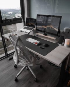 minimal desk setups wide screen setup