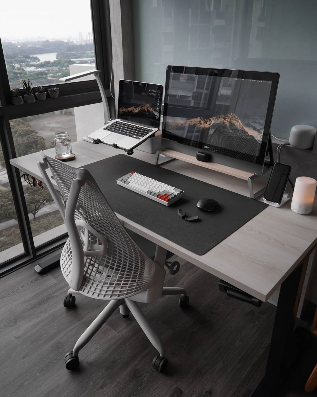 minimal desk setups wide screen setup